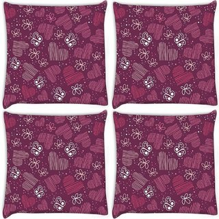 Snoogg Pack Of 4 Multicolor Heart And Butterfly Digitally Printed Cushion Cover Pillow 10 x 10 Inch