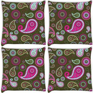 Snoogg Pack Of 4 Multicolor Pattern Digitally Printed Cushion Cover Pillow 10 x 10 Inch