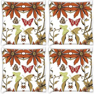 Snoogg Pack Of 4 Garden White Pattern Digitally Printed Cushion Cover Pillow 10 x 10 Inch