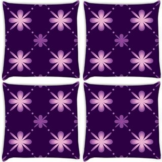 Snoogg Pack Of 4 Purple Floral Pattern Digitally Printed Cushion Cover Pillow 10 x 10 Inch