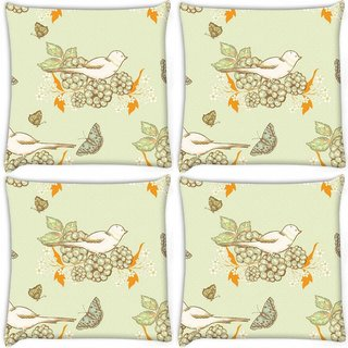 Snoogg Pack Of 4 White Bird Digitally Printed Cushion Cover Pillow 10 x 10 Inch