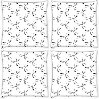 Snoogg Pack Of 4 Grey Feathers Digitally Printed Cushion Cover Pillow 10 x 10 Inch