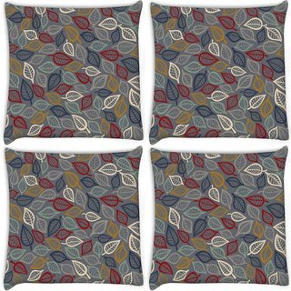 Snoogg Pack Of 4 Grey Pattern Leaves Digitally Printed Cushion Cover Pillow 10 x 10 Inch