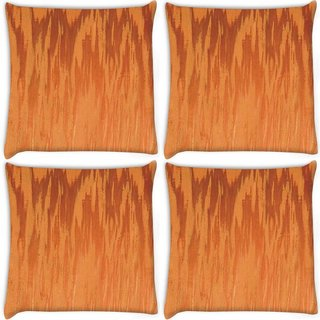 Snoogg Pack Of 4 Fire Flames Digitally Printed Cushion Cover Pillow 10 x 10 Inch