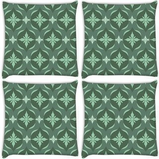 Snoogg Pack Of 4 Green Floral Pattern Digitally Printed Cushion Cover Pillow 10 x 10 Inch