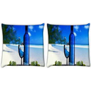 Snoogg Pack Of 2 Wine And Beach Digitally Printed Cushion Cover Pillow 10 x 10 Inch