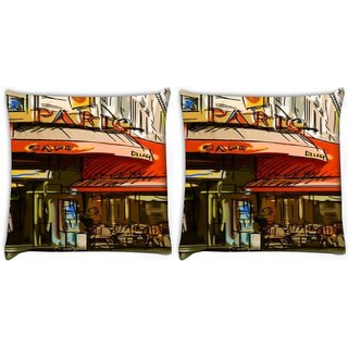 Snoogg Pack Of 2 Paris Cade Digitally Printed Cushion Cover Pillow 10 x 10 Inch