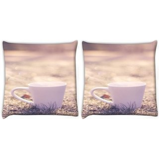 Snoogg Pack Of 2 White Mug Digitally Printed Cushion Cover Pillow 10 x 10 Inch