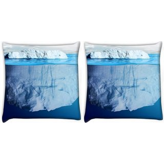 Snoogg Pack Of 2 Blue Sea With White Mountain Digitally Printed Cushion Cover Pillow 10 x 10 Inch