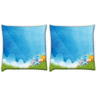 Snoogg Pack Of 2 Abstract Blue Digitally Printed Cushion Cover Pillow 10 x 10 Inch