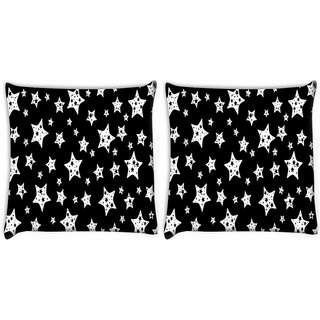 Snoogg Pack Of 2 Black And White Stars Digitally Printed Cushion Cover Pillow 10 x 10 Inch