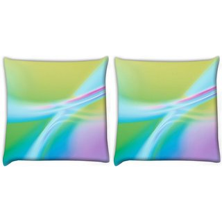 Snoogg Pack Of 2 Multicolor Waves Digitally Printed Cushion Cover Pillow 10 x 10 Inch