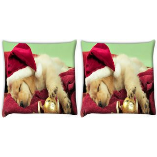 Snoogg Pack Of 2 Cute Puppy Digitally Printed Cushion Cover Pillow 10 x 10 Inch