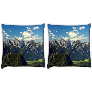 Snoogg Pack Of 2 Mountains Digitally Printed Cushion Cover Pillow 10 x 10 Inch