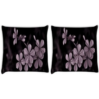 Snoogg Pack Of 2 Grey Flower Digitally Printed Cushion Cover Pillow 10 x 10 Inch