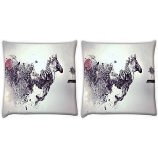 Snoogg Pack Of 2 Zebra Mechanism Digitally Printed Cushion Cover Pillow 10 x 10 Inch