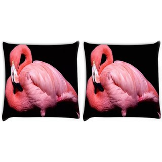 Snoogg Pack Of 2 Pink Swan Digitally Printed Cushion Cover Pillow 10 x 10 Inch