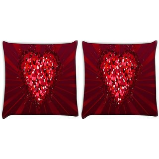 Snoogg Pack Of 2 Multiple Heart Digitally Printed Cushion Cover Pillow 10 x 10 Inch