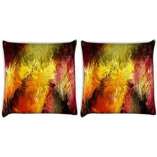 Snoogg Pack Of 2 Abstract Colorful Design Digitally Printed Cushion Cover Pillow 10 x 10 Inch