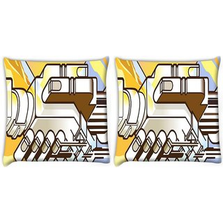 Snoogg Pack Of 2 Mechanism Of Hand Shake Digitally Printed Cushion Cover Pillow 10 x 10 Inch