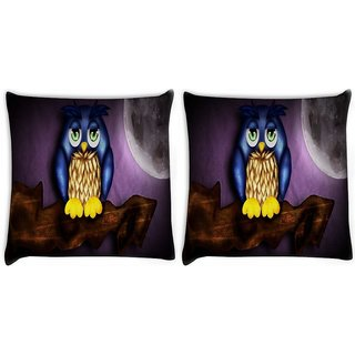 Snoogg Pack Of 2 Cute Owl Digitally Printed Cushion Cover Pillow 10 x 10 Inch