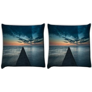 Snoogg Pack Of 2 Concrete Pier Digitally Printed Cushion Cover Pillow 10 x 10 Inch