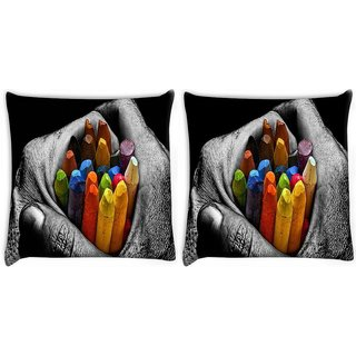 Snoogg Pack Of 2 Cool Mac Digitally Printed Cushion Cover Pillow 10 x 10 Inch