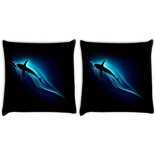 Snoogg Pack Of 2 Neon Shark In Sea Digitally Printed Cushion Cover Pillow 10 x 10 Inch