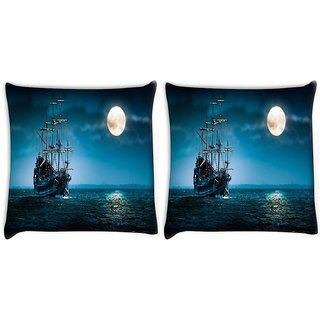 Snoogg Pack Of 2 Cool Ship In Sea Digitally Printed Cushion Cover Pillow 10 x 10 Inch