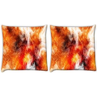 Snoogg Pack Of 2 Crazy Fire Digitally Printed Cushion Cover Pillow 10 x 10 Inch