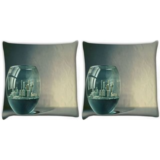 Snoogg Pack Of 2 City In Fish Tank Digitally Printed Cushion Cover Pillow 10 x 10 Inch