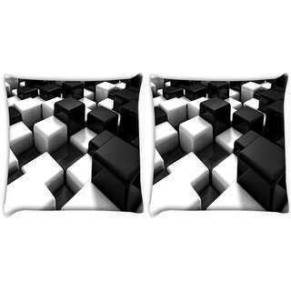 Snoogg Pack Of 2 Cubes On The Floor Digitally Printed Cushion Cover Pillow 10 x 10 Inch