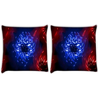 Snoogg Pack Of 2 Curves Abstract Digitally Printed Cushion Cover Pillow 10 x 10 Inch