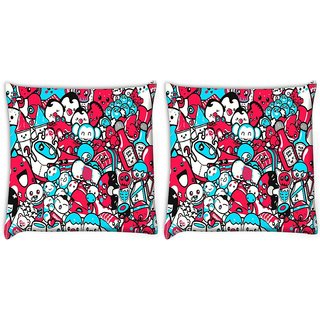 Snoogg Pack Of 2 Cute Characters Digitally Printed Cushion Cover Pillow 10 x 10 Inch
