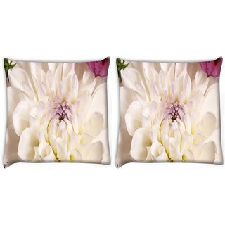 Snoogg Pack Of 2 Dahlia White Flower Digitally Printed Cushion Cover Pillow 10 x 10 Inch