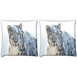 Snoogg Pack Of 2 Snow Leopard Digitally Printed Cushion Cover Pillow 10 x 10 Inch