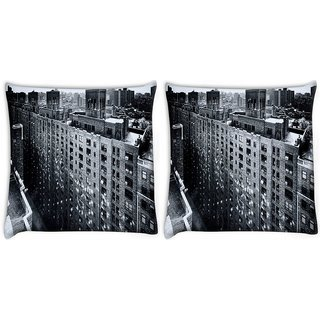 Snoogg Pack Of 2 Manhattan New York City Digitally Printed Cushion Cover Pillow 10 x 10 Inch
