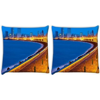 Snoogg Pack Of 2 Marine Drive Digitally Printed Cushion Cover Pillow 10 x 10 Inch