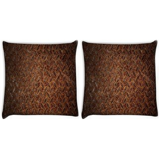 Snoogg Pack Of 2 Metal Pattern Digitally Printed Cushion Cover Pillow 10 x 10 Inch