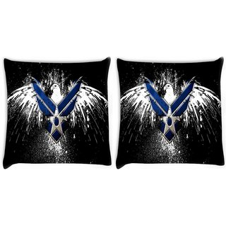 Snoogg Pack Of 2 Military Logo Digitally Printed Cushion Cover Pillow 10 x 10 Inch