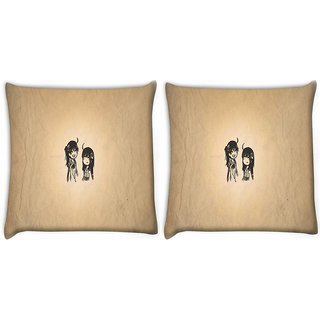 Snoogg Pack Of 2 Minimalistic Simple Digitally Printed Cushion Cover Pillow 10 x 10 Inch