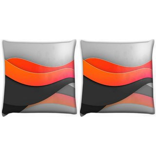 Snoogg Pack Of 2 Light Waves Digitally Printed Cushion Cover Pillow 10 x 10 Inch