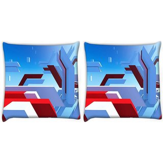Snoogg Pack Of 2 Mirrors Edge Digitally Printed Cushion Cover Pillow 10 x 10 Inch