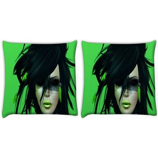 Snoogg Pack Of 2 Green Feather Girl Digitally Printed Cushion Cover Pillow 10 x 10 Inch