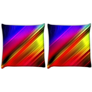 Snoogg Pack Of 2 Diagonal Lines Digitally Printed Cushion Cover Pillow 10 x 10 Inch