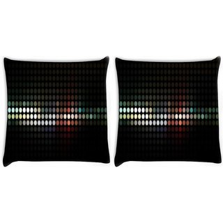 Snoogg Pack Of 2 Abstract Black Design Digitally Printed Cushion Cover Pillow 10 x 10 Inch