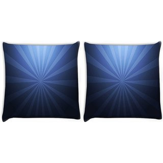 Snoogg Pack Of 2 Abstract Blue Pattern Digitally Printed Cushion Cover Pillow 10 x 10 Inch