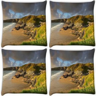 Snoogg Pack Of 4 Beach Side View Digitally Printed Cushion Cover Pillow 10 x 10 Inch