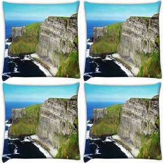 Snoogg Pack Of 4 Mountain Side View Digitally Printed Cushion Cover Pillow 10 x 10 Inch