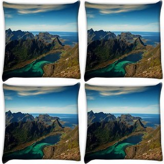 Snoogg Pack Of 4 River Side Mountain Digitally Printed Cushion Cover Pillow 10 x 10 Inch